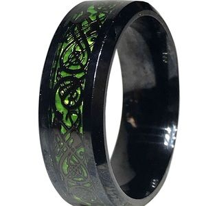 Other - Unisex Steel Black and Green Tribal Dragon Ring